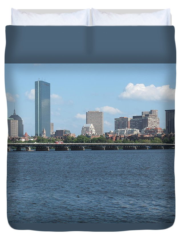 Boston Duvet Cover featuring the photograph Charles River Summer by Barbara McDevitt