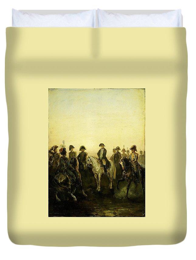 Charles Rochussen Napoleon Met Zijn Staf Duvet Cover featuring the painting Charles Rochussen Napoleon Met Zijn Staf by MotionAge Designs