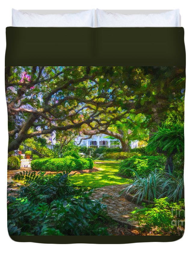 Charleston Duvet Cover featuring the digital art Charleston Sc Gardens by Dale Powell