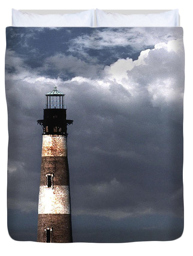 Lighthouses Duvet Cover featuring the photograph Charleston Lights by Skip Willits