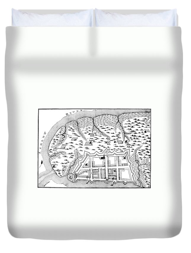 1704 Duvet Cover featuring the photograph Charleston: Plan, 1704 by Granger