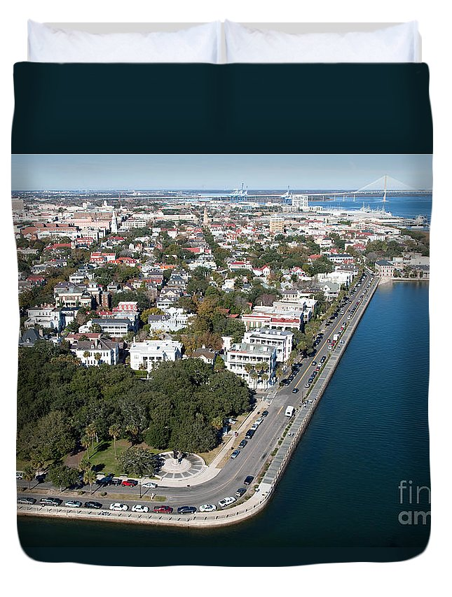 Aerial Duvet Cover featuring the photograph Charleston South Carolina Riverfront by Bill Cobb