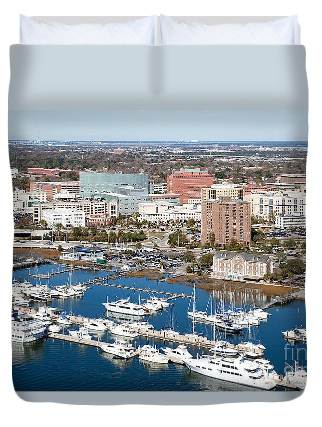 Aerial Duvet Cover featuring the photograph Charleston Waterfront And Marina South Carolina by Bill Cobb