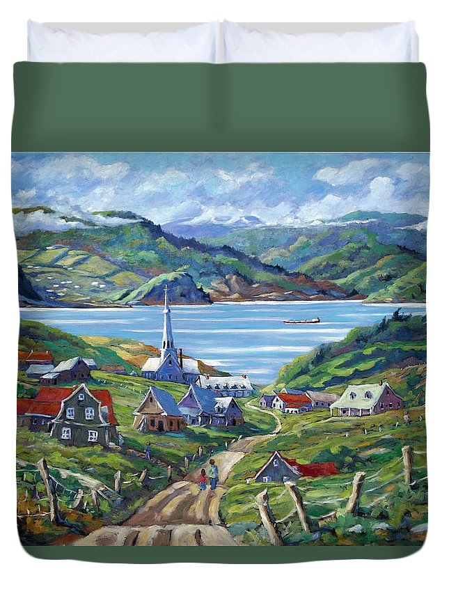 Duvet Cover featuring the painting Charlevoix Scene by Richard T Pranke