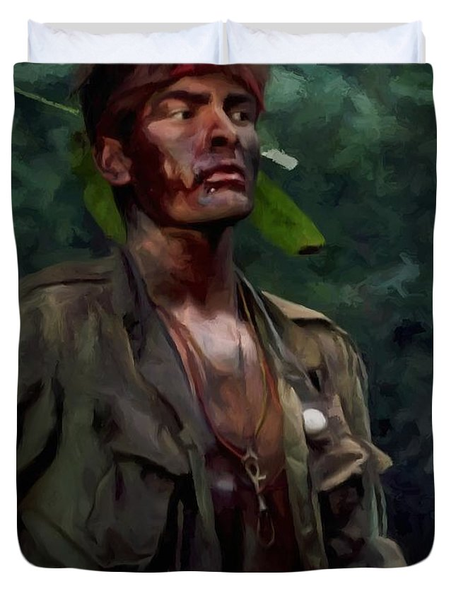 Platoon Duvet Cover featuring the digital art Charlie Sheen in Platoon by Gabriel T Toro