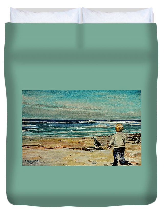 Ocean Duvet Cover featuring the painting Chasing The Seagull by Elizabeth Robinette Tyndall