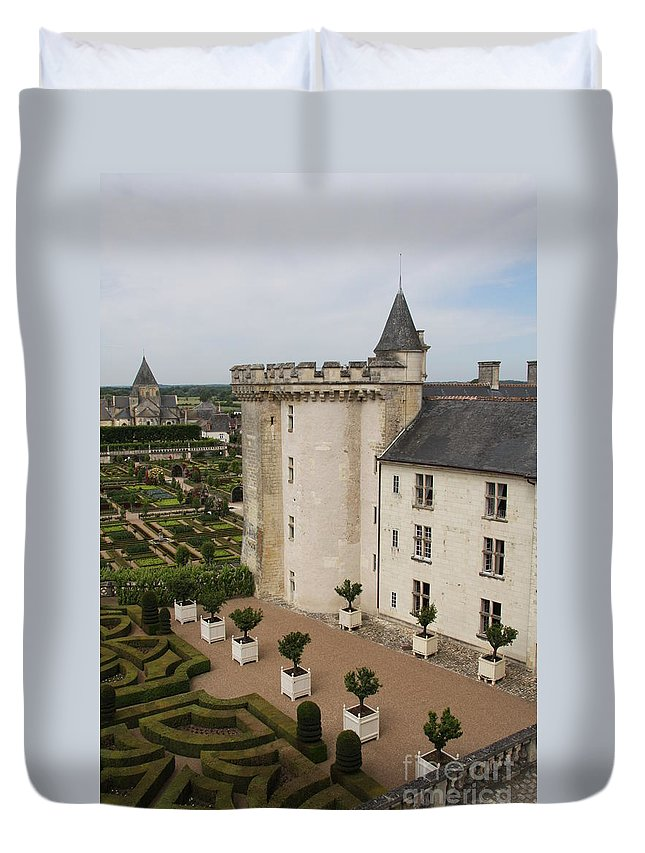 Palace Duvet Cover featuring the photograph Chateau And Garden - Villandry by Christiane Schulze Art And Photography