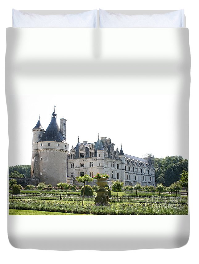 Castle Duvet Cover featuring the photograph Chateau Chenonceau And Garden by Christiane Schulze Art And Photography