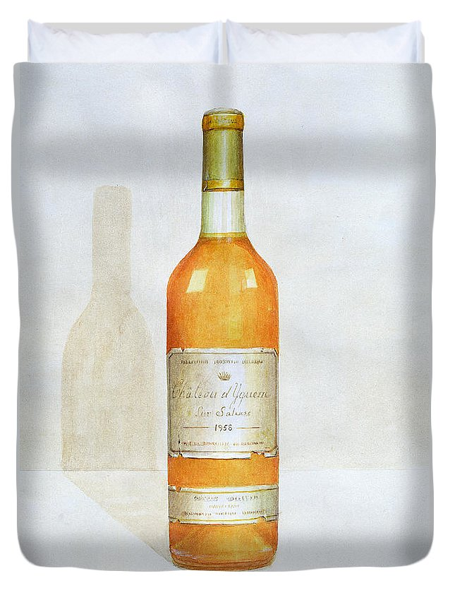 Bottle; Wine; Alcohol; Beverage; Label; Shadow; Labels Duvet Cover featuring the painting Chateau D Yquem by Lincoln Seligman