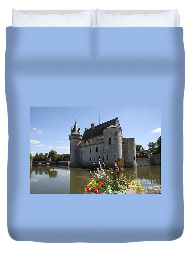 Castle Duvet Cover featuring the photograph Chateau De Sully-sur-loire And Moat by Christiane Schulze Art And Photography
