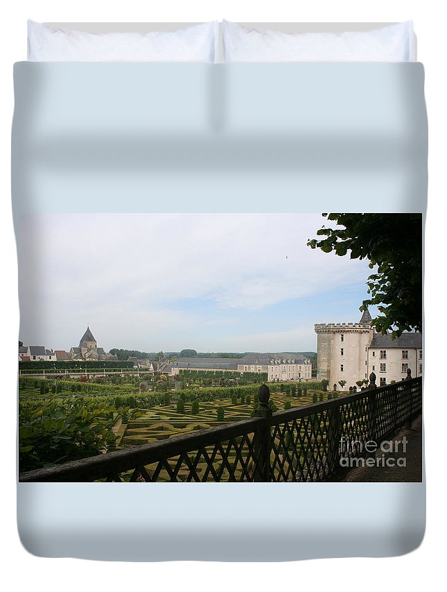 Garden Duvet Cover featuring the photograph Chateau Vilandry And Garden View by Christiane Schulze Art And Photography