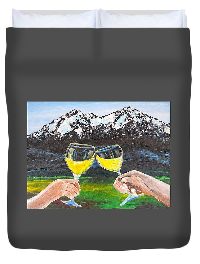 Wine Duvet Cover featuring the painting Cheers by Eric Johansen