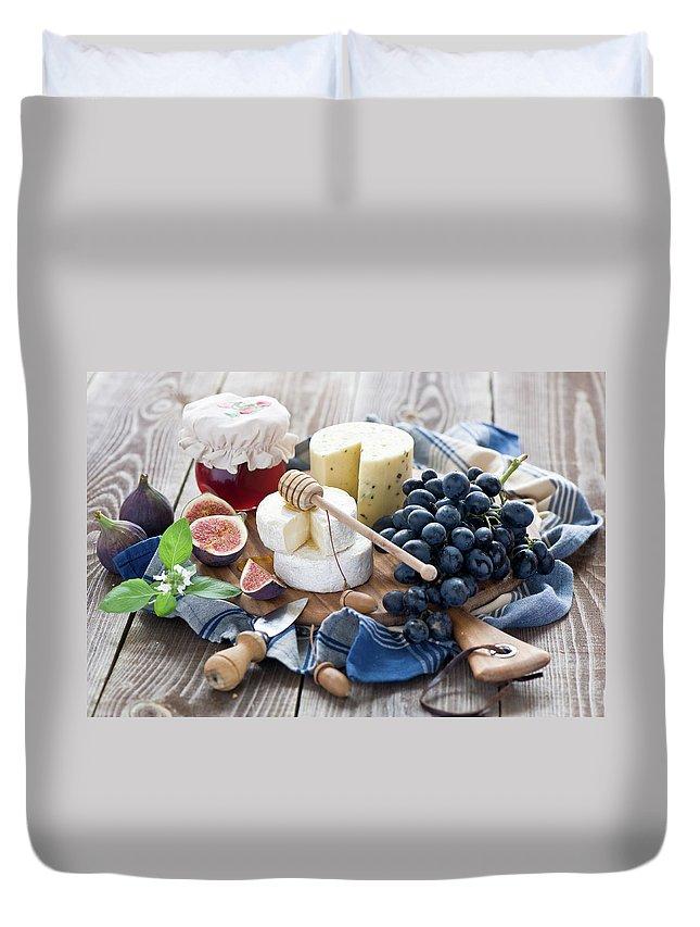 Plum Duvet Cover featuring the photograph Cheese Board by Verdina Anna
