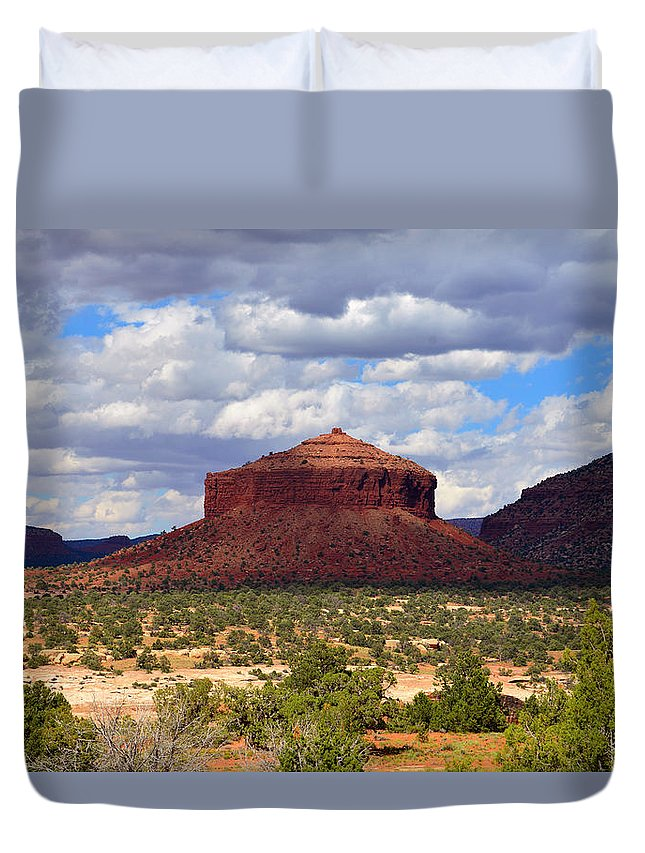 Cheesebox Mesa Utah Duvet Cover featuring the photograph Cheesebox Mesa by David Lee Thompson