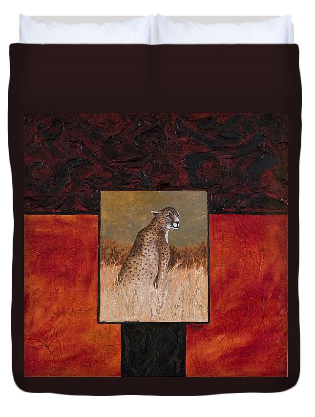 Animal Duvet Cover featuring the painting Cheetah by Darice Machel McGuire