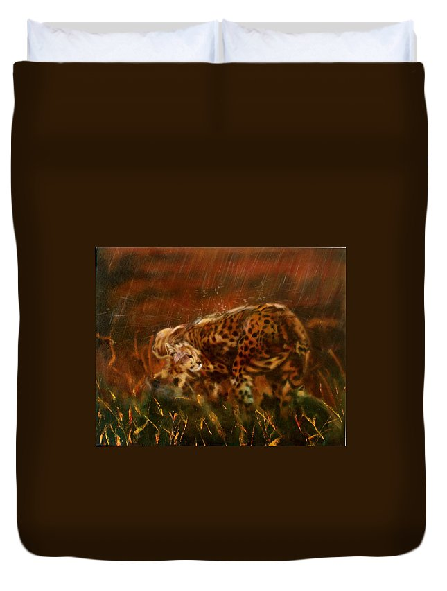 Rain;water;cats;africa;wildlife;animals;mother;shelter;brush;bush Duvet Cover featuring the painting Cheetah Family After The Rains by Sean Connolly