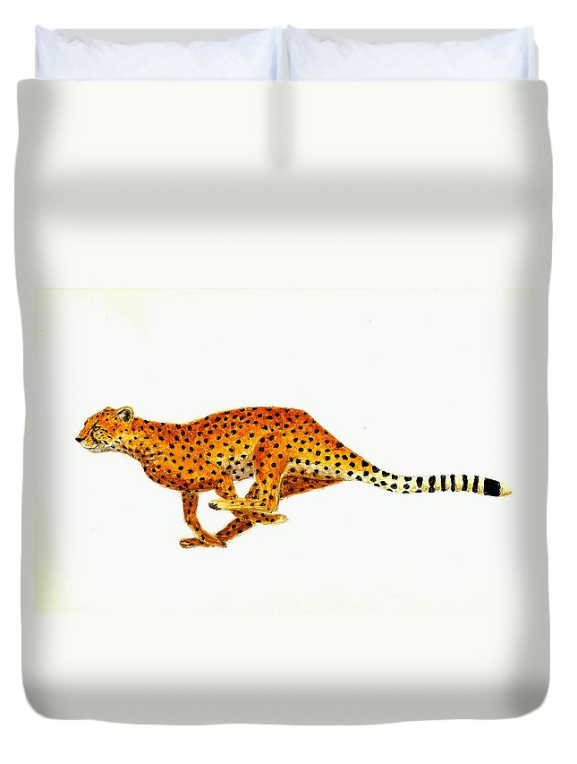 Wildlife Duvet Cover featuring the painting Cheetah by Michael Vigliotti