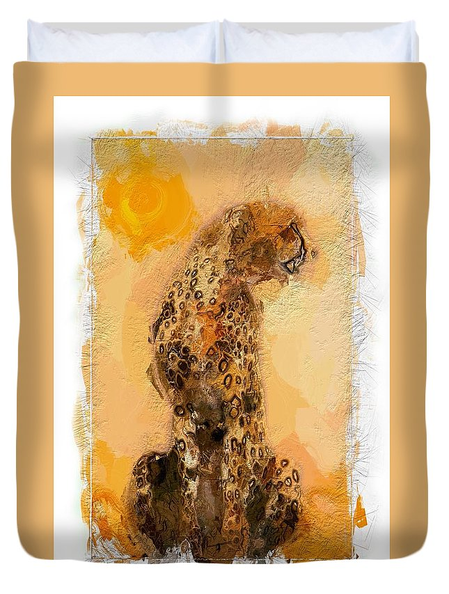 Cheetah Africa African Sun Gepard Cat Heat Savanne Sunlight Animal Abstract Expressionism Portrait Painting Hot Duvet Cover featuring the painting Cheetah by Steve K