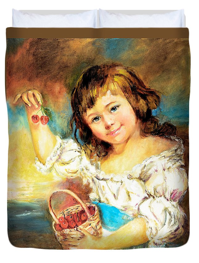 Girl Duvet Cover featuring the painting Cherry Basket Girl by Sher Nasser