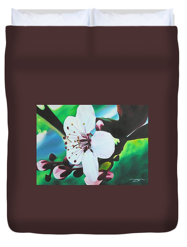 Flower Duvet Cover featuring the painting Cherry Blosom by Joshua Morton