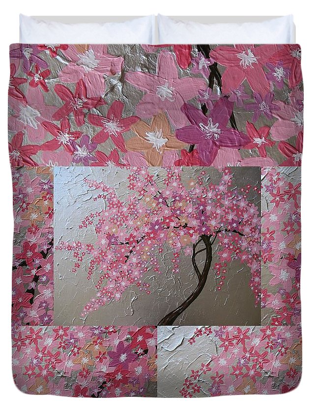 Cherry Blossom Duvet Cover featuring the painting Cherry Blossom Collage by Cathy Jacobs