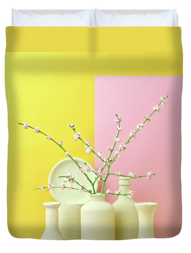 Out Of Context Duvet Cover featuring the photograph Cherry Blossom Popcorn In Monochromatic by Juj Winn