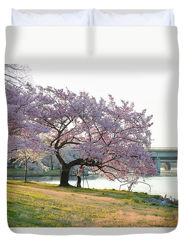 Architectural Duvet Cover featuring the photograph Cherry Blossoms 2013 - 003 by Metro DC Photography