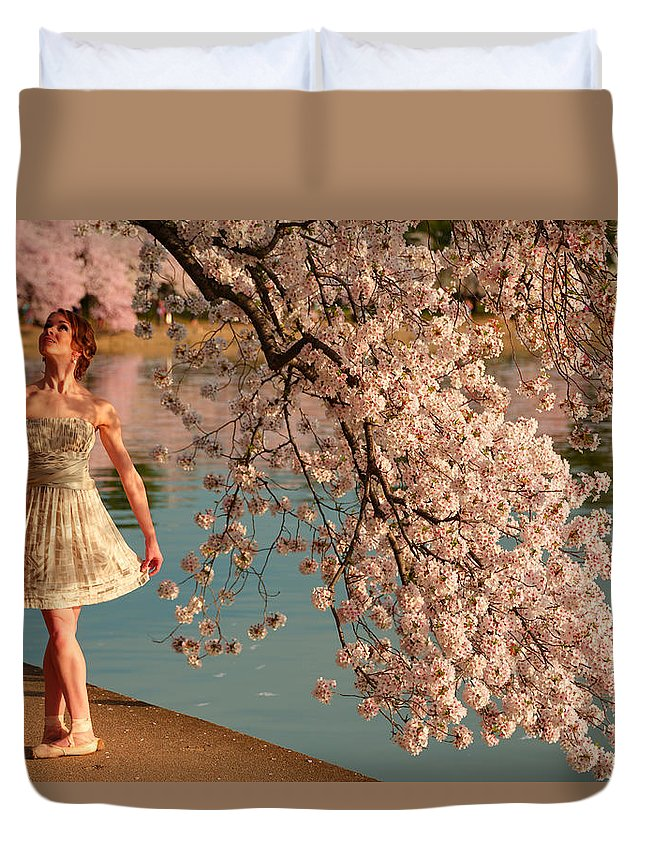 Architectural Duvet Cover featuring the photograph Cherry Blossoms 2013 - 082 by Metro DC Photography