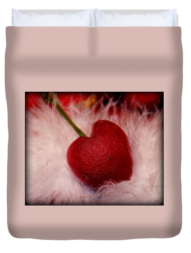 Heart Artred Cherry Heart Duvet Cover featuring the photograph Cherry Heart by Linda Sannuti