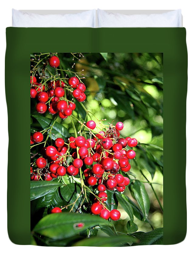 Berries Duvet Cover featuring the photograph Cherry Laurel by Christiane Schulze Art And Photography