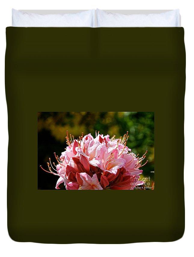 Flower Duvet Cover featuring the photograph Cherry Mist Azalea by Susan Herber