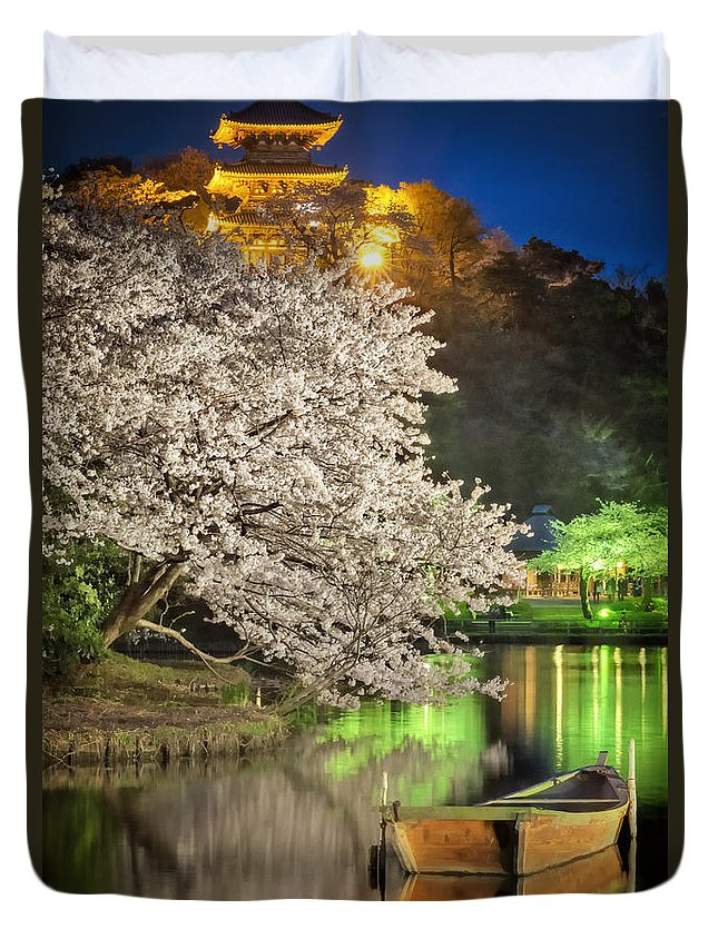 Temple Buddhism Asian Meditation Buddhist Religious Religion Culture Asia Buddha Travel Oriental Worship Old Art Gold Siam Prayer Pray Faith Statue Traditional Tradition Chinese Ancient Sculpture Spiritual Zen China Meditate Duvet Cover featuring the photograph Cherry Blossom Temple Boat by John Swartz