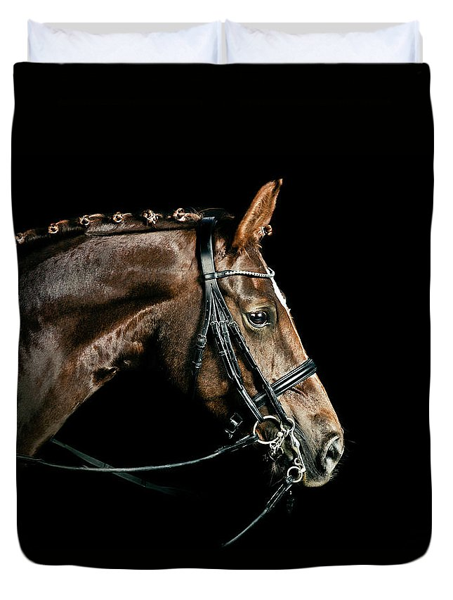 Horse Duvet Cover featuring the photograph Chestnut Dressage Horse Groomed For A by Anja Hild