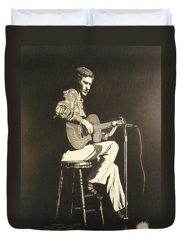 Chet Adkins Duvet Cover featuring the drawing Chet Adkins 1975 by Charles Rogers
