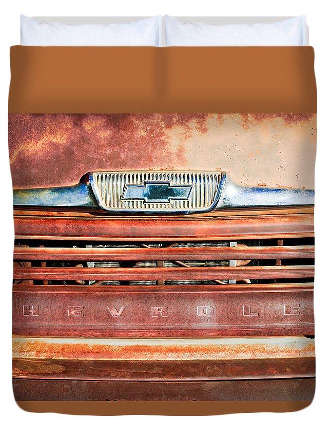 Chevrolet Emblem Duvet Cover featuring the photograph Chevrolet 31 Apache Pickup Truck Grille Emblem by Jill Reger