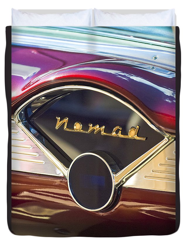 Chevrolet Bel-air Nomad Emblem Duvet Cover featuring the photograph Chevrolet Belair Nomad Dashboard by Jill Reger