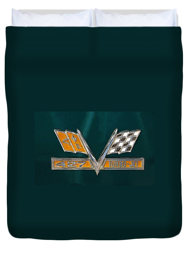 Emblem Duvet Cover featuring the photograph Chevy 427 Turbo Jet by Charles Beeler
