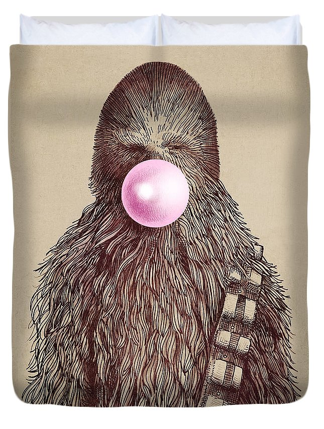 Bubblegum Duvet Cover featuring the drawing Big Chew by Eric Fan