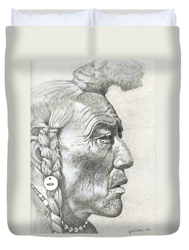 Art Duvet Cover featuring the drawing Cheyenne Medicine Man by Bern Miller