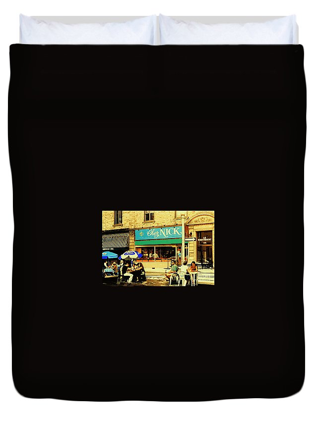 Westmount Duvet Cover featuring the painting Chez Nick On Greene Avenue Montreal In Summer Cafe Art Westmount Terrace Bistros And Umbrellas by Carole Spandau