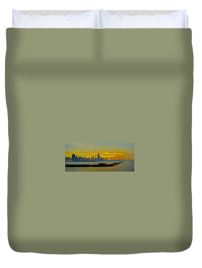 Chicago Duvet Cover featuring the photograph Chicago Breakwater by Tim G Ross