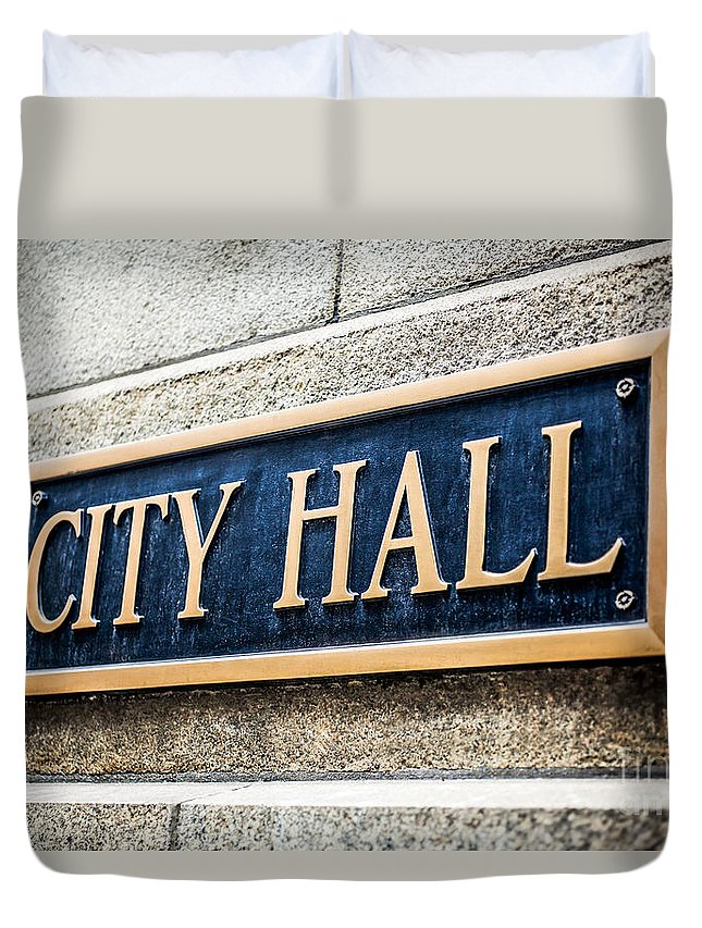 America Duvet Cover featuring the photograph Chicago City Hall Sign by Paul Velgos