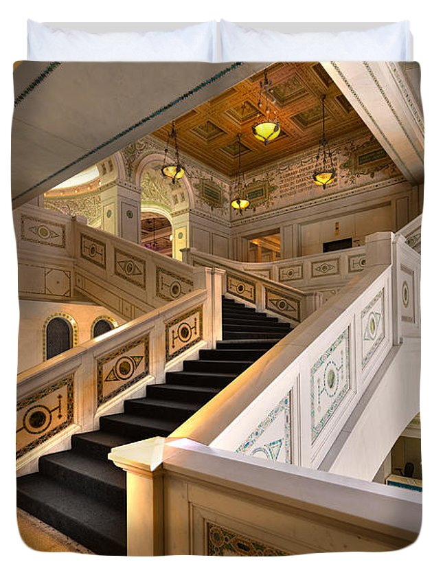 Stairwell Duvet Cover featuring the photograph Chicago Cultural Center by Steve Gadomski