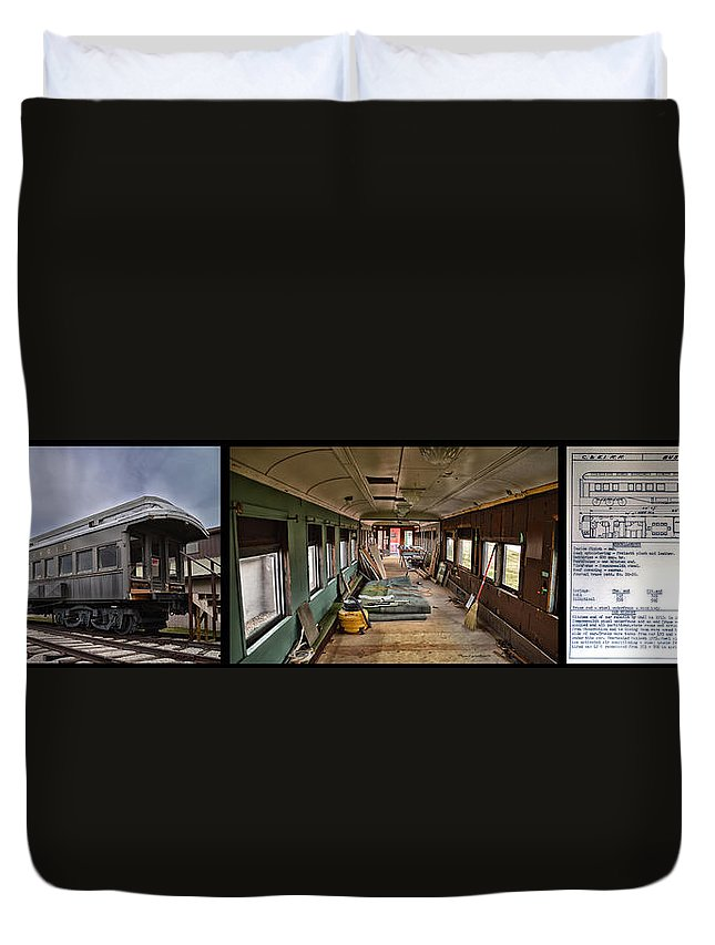 C&e Il Duvet Cover featuring the photograph Chicago Eastern Il Rr Car Restoration With Blue Print by Thomas Woolworth