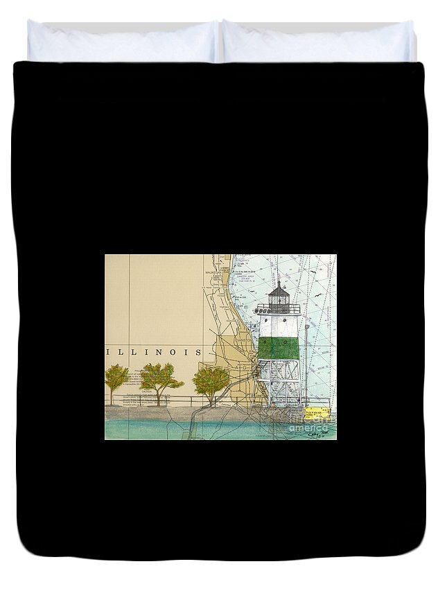 Chicago Duvet Cover featuring the painting Chicago Harbor Se Guidewall Lighthouse Il Nautical Chart Art by Cathy Peek