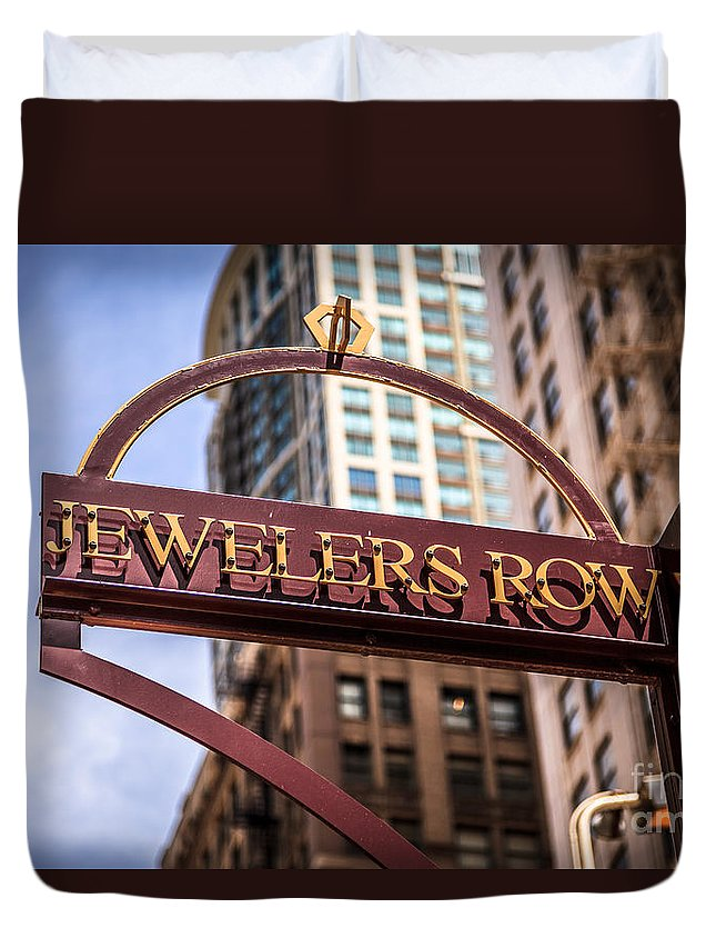 America Duvet Cover featuring the photograph Chicago Jewelers Row Sign by Paul Velgos