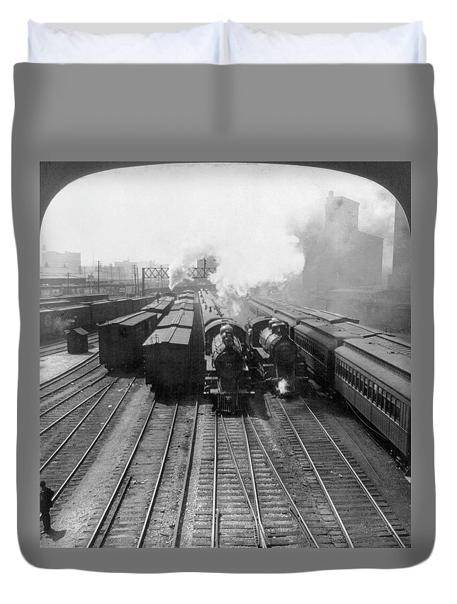 1906 Duvet Cover featuring the painting Chicago Locomotives, C1906 by Granger