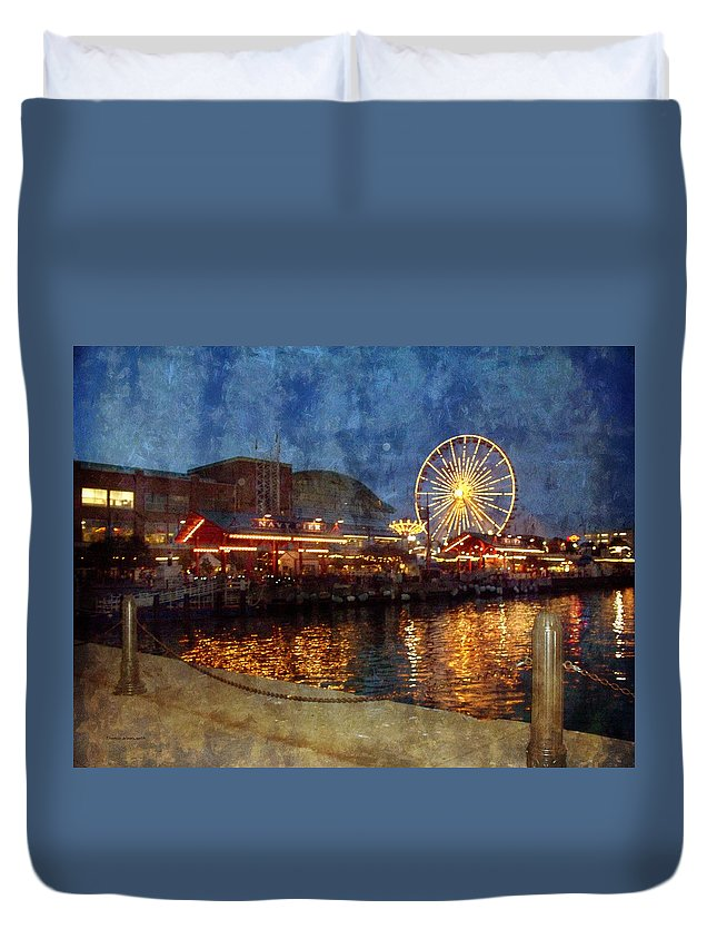 Navy Pier Duvet Cover featuring the photograph Chicago Navy Pier At Night by Thomas Woolworth