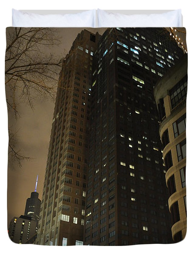 Chicago Duvet Cover featuring the photograph Chicago Night Life by Verana Stark