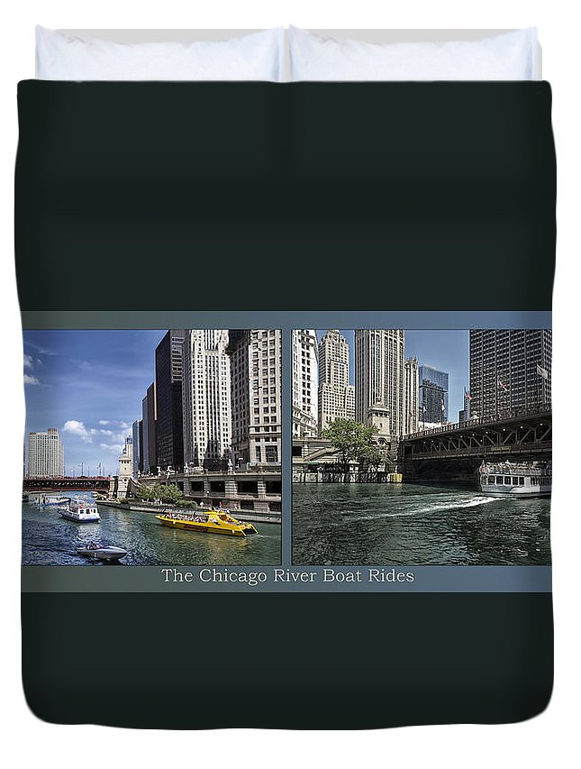 Riverwalk Duvet Cover featuring the photograph Chicago River Boat Rides 2 Panel by Thomas Woolworth